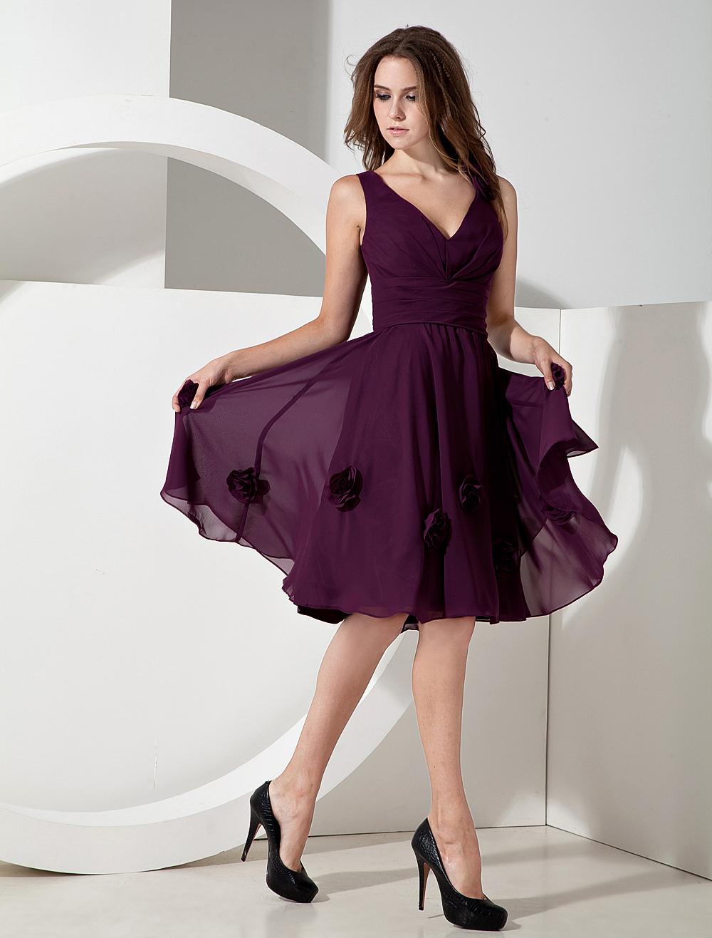 Chiffon V-neck Knee Length Bridesmaid Dress