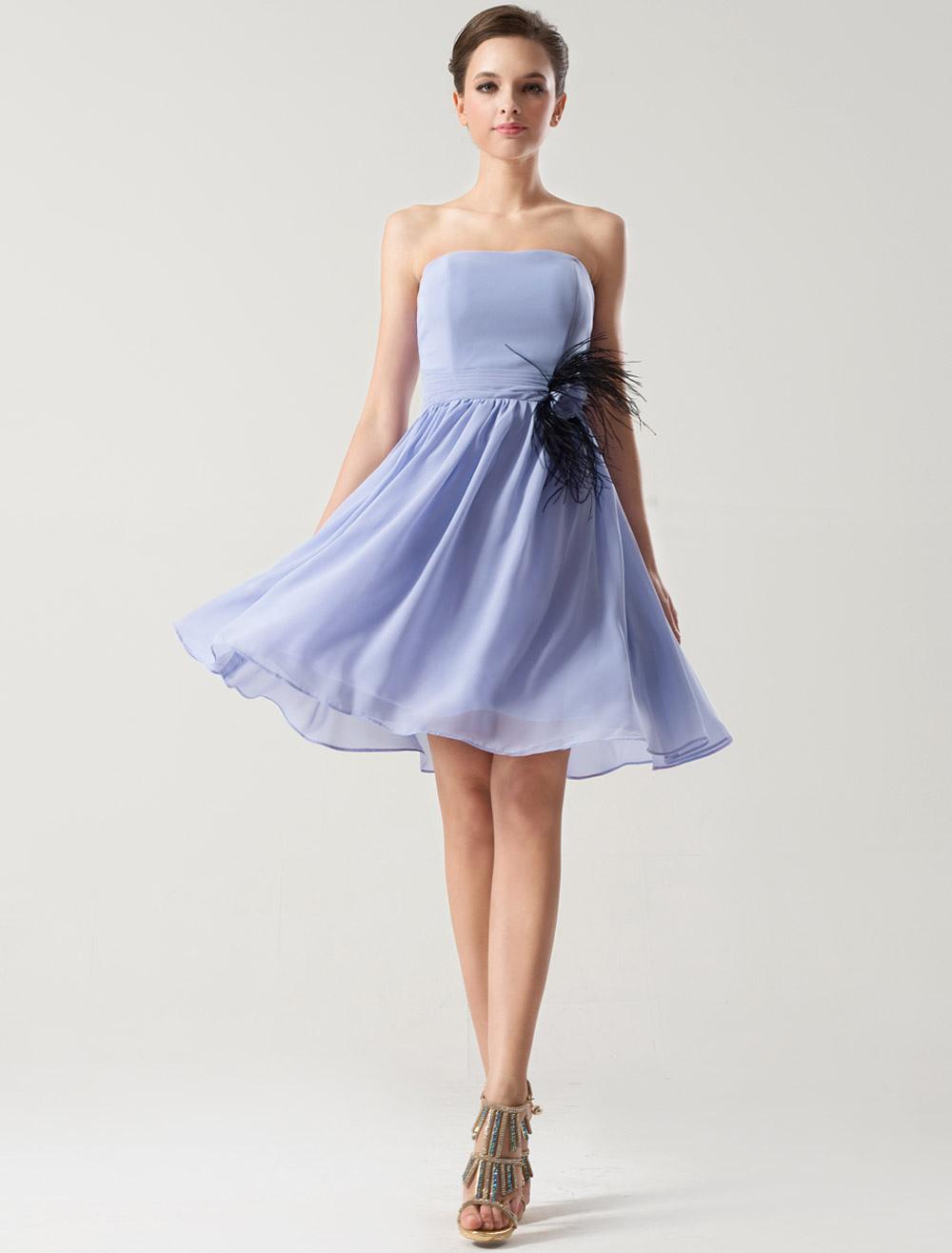 Lavender Chiffon Short Bridesmaid Dress wirh Feather