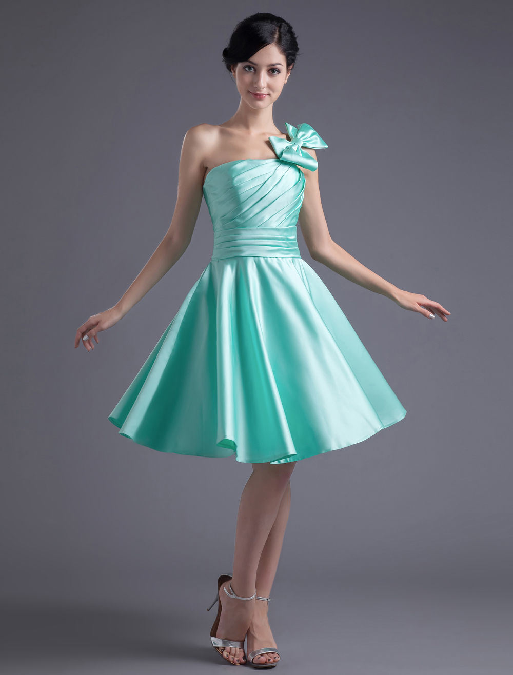 A-line Sage Satin Bow Strapless Bridesmaid Dress