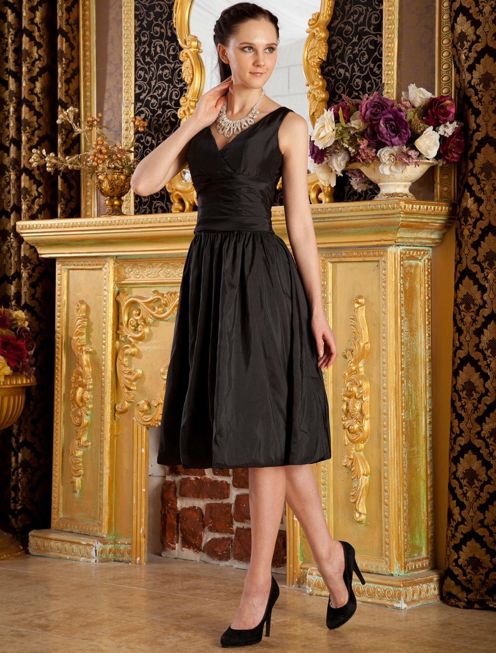 Black V-Neck A-line Pleated Taffeta Bridesmaid Dress