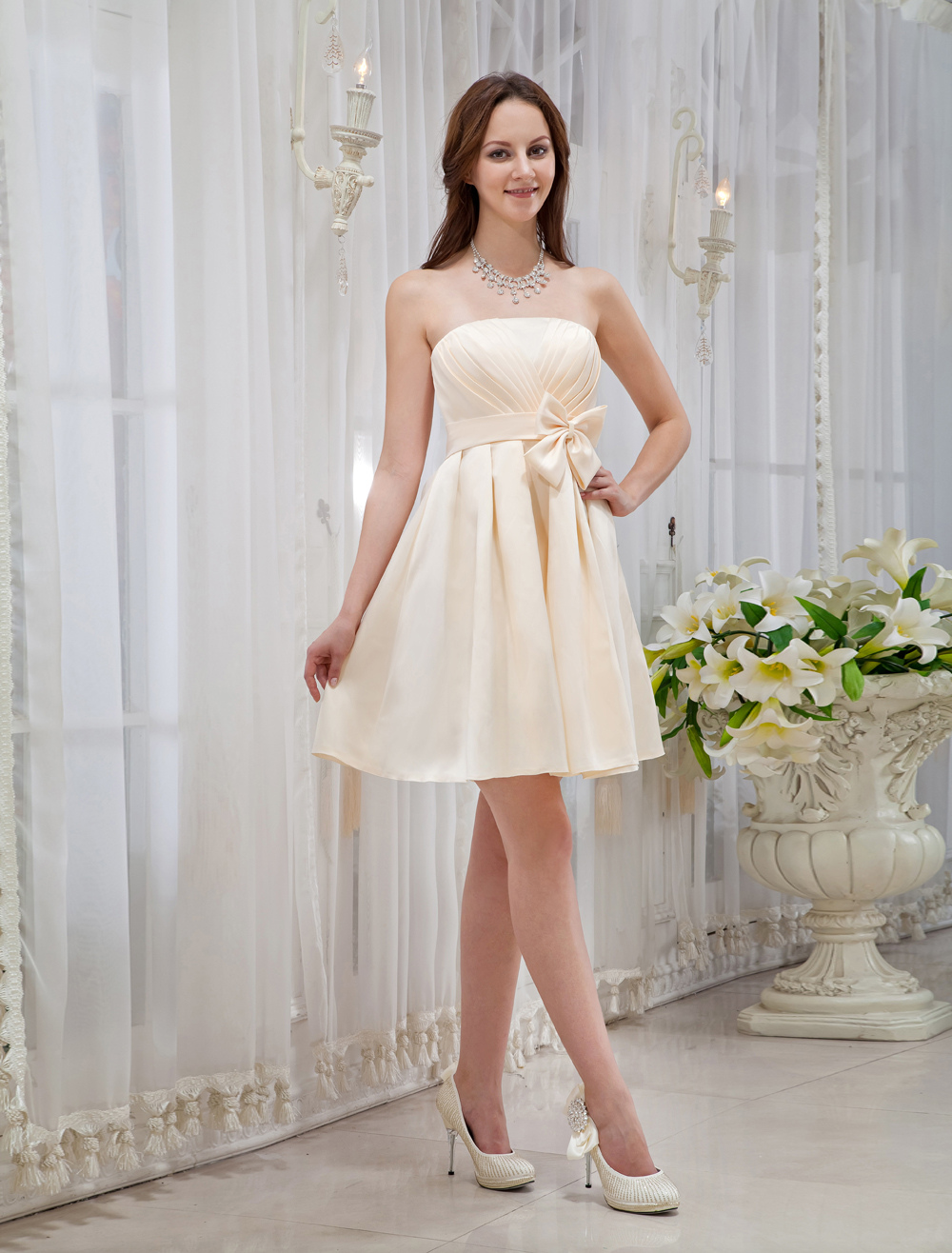 Gold Champagne Bow Knee Length Strapless Satin Bridesmaid Dress