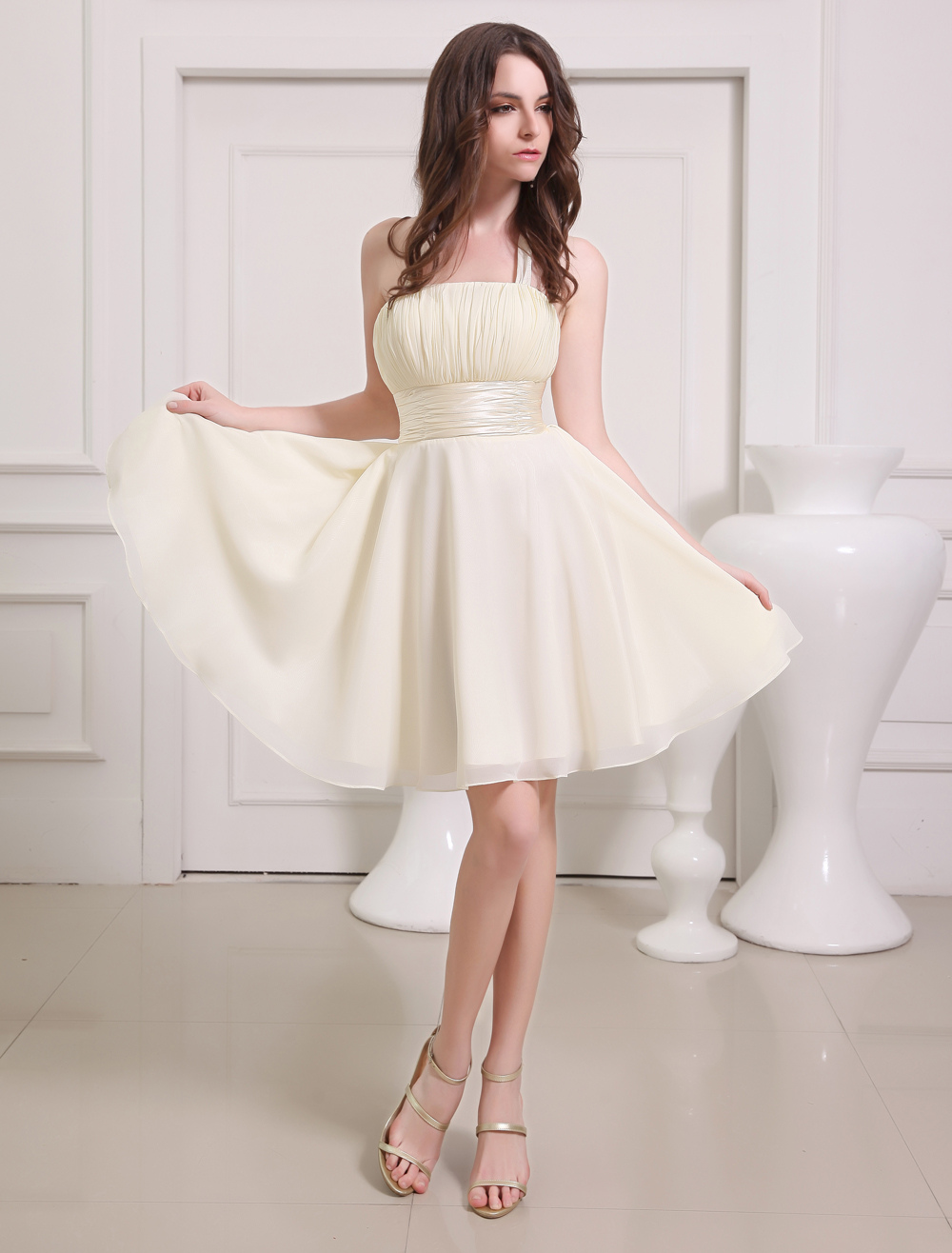 Gold Champagne Prom Dress Straps Sash Lace Up Bow Chiffon Dress
