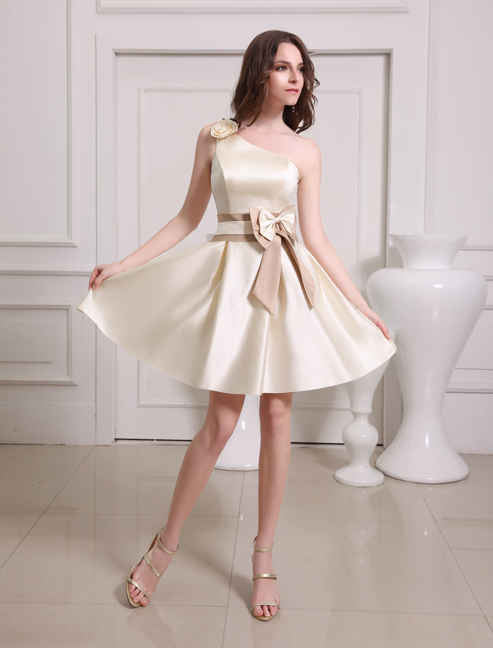 Short Gold Champagne One-Shoulder Satin Bridesmaid Dress