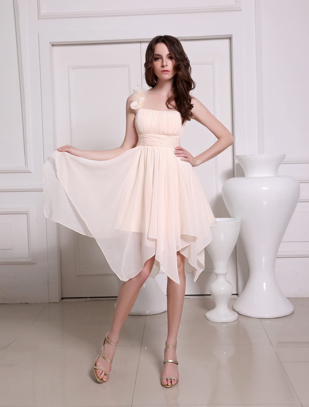 Pink Asymmetrical Bridesmaid Dress One-Shoulder Flowers Chiffon Dress