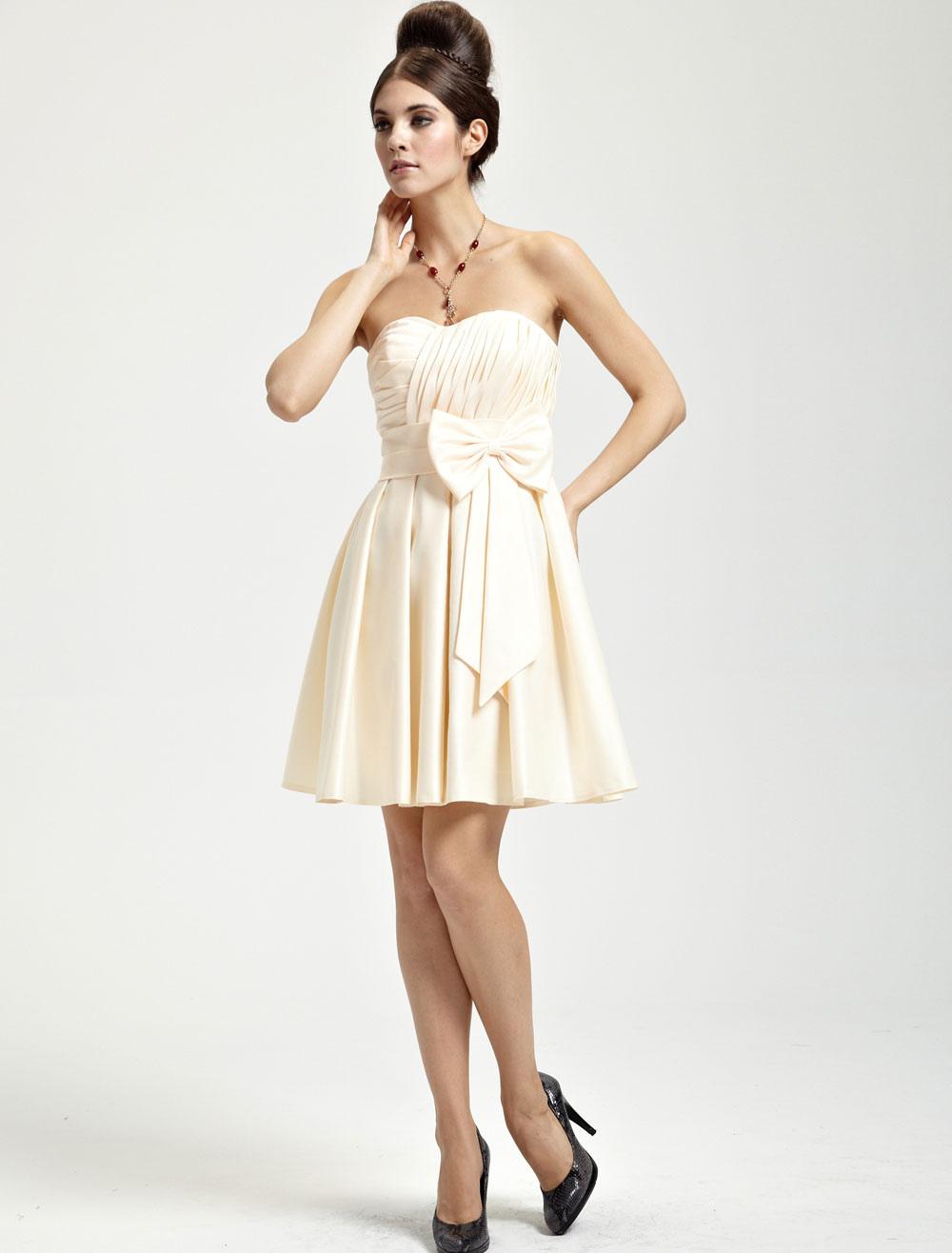 Gold Champagne Satin Bow Sweetheart Short Bridesmaid Dress (Wedding Bridesmaid Dresses) photo