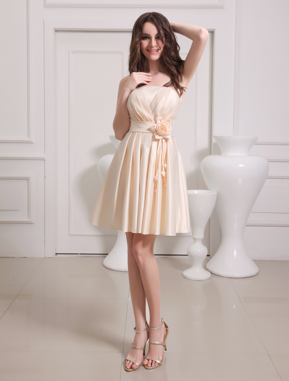 Gold Champagne A-line Flower Satin Bridesmaid Dress