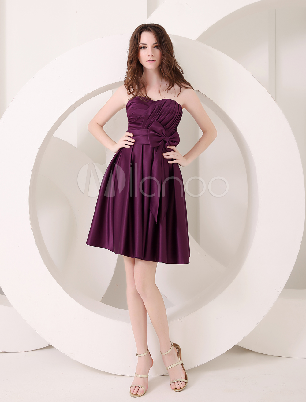 Charming Grape A-line Sweetheart Neck Sash Satin Bridesmaid Dress