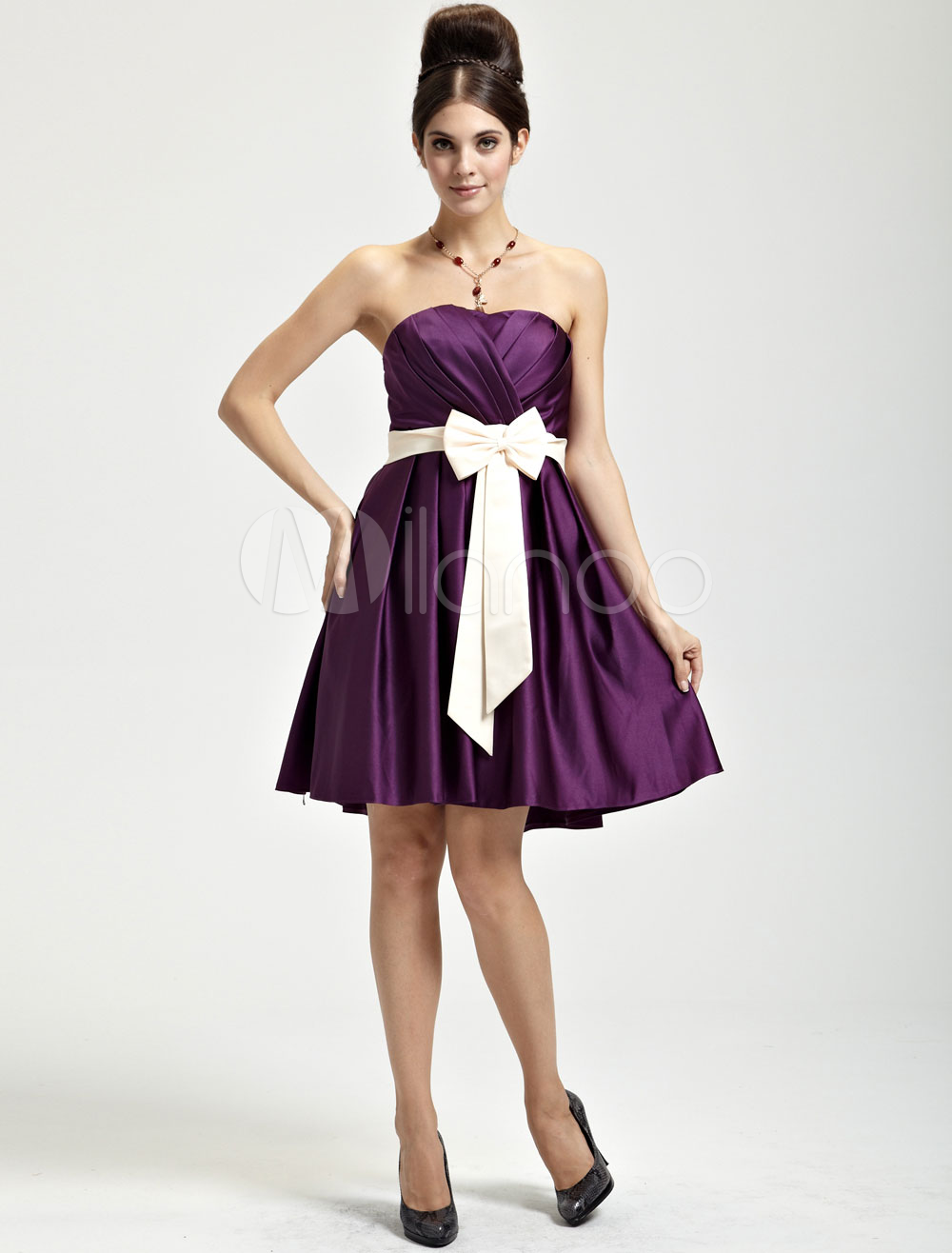 Delicate Grape Satin Strapless Bridesmaid Dress