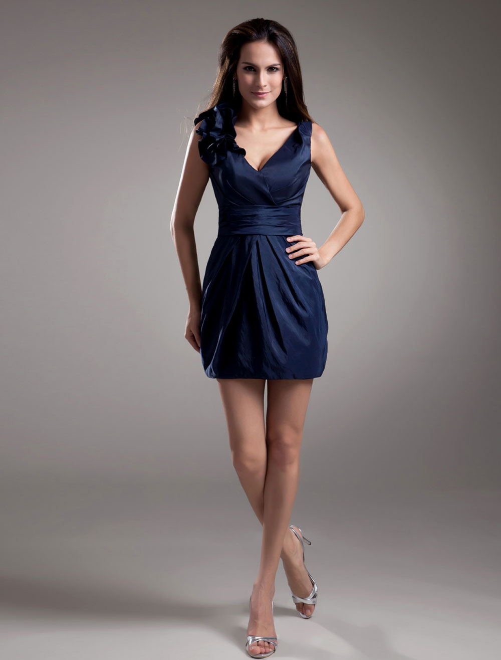 Short V-Neck Bridesmaid Dress with Cascading Ruffle