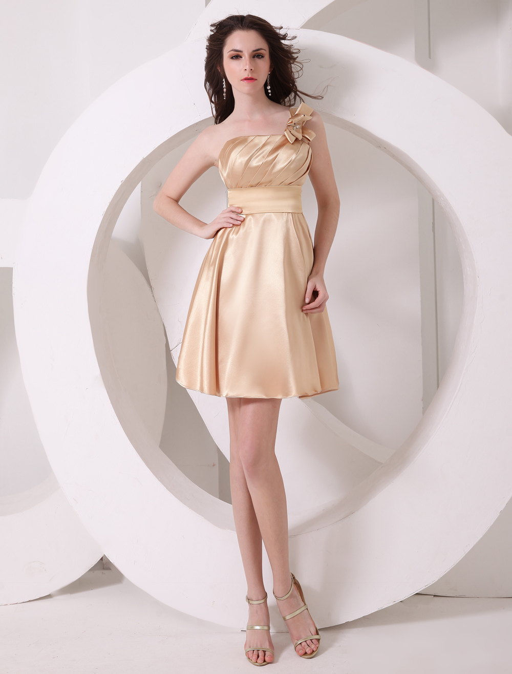 Fashion Gold A-line One-Shoulder Bow Bridesmaid Dress
