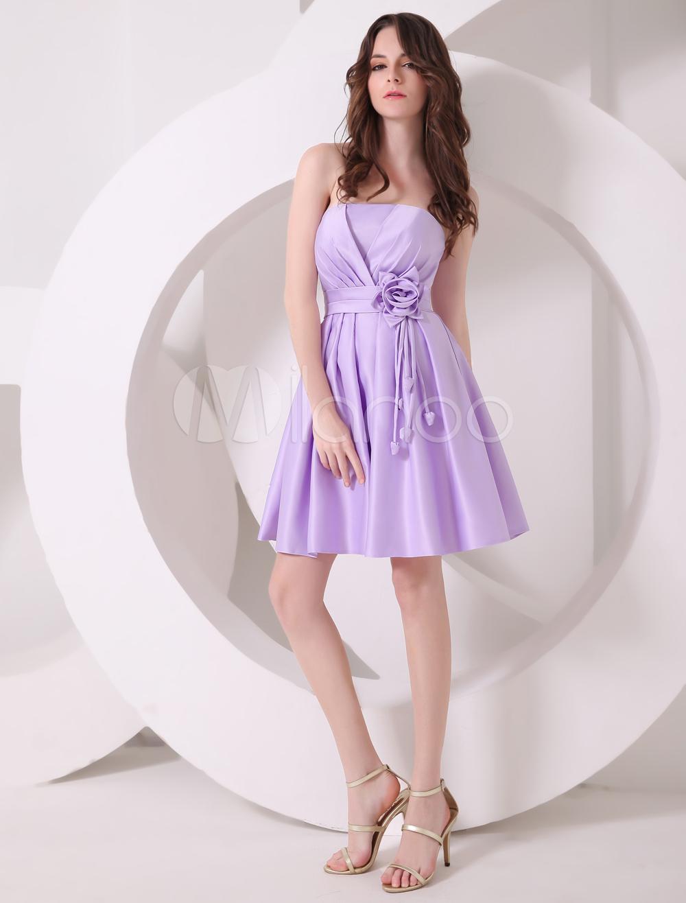 Lavender A-line Flower Satin Gorgeous Bridesmaid Dress