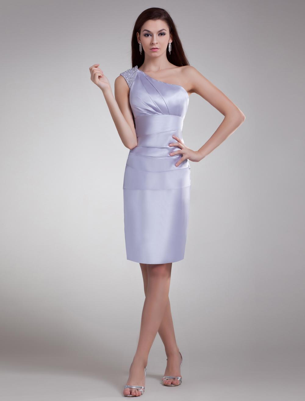 One-Shoulder Short Cocktail Dress (Wedding Bridesmaid Dresses) photo