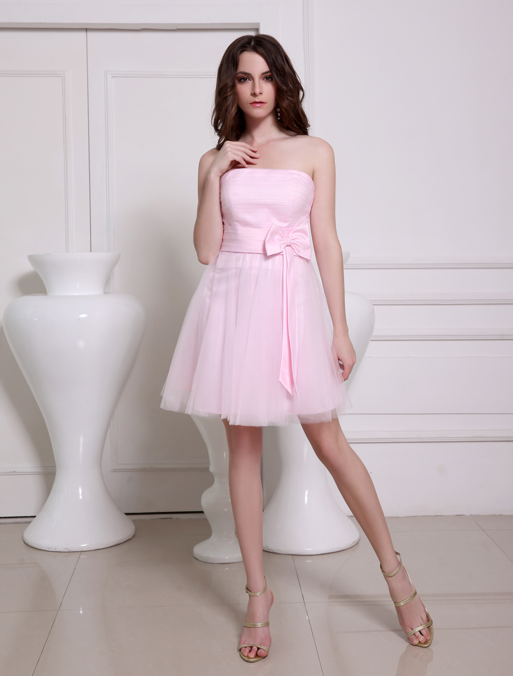 Lovely Pink Strapless A-line Bow Tulle Elegant Cocktail Dress (Wedding Bridesmaid Dresses) photo