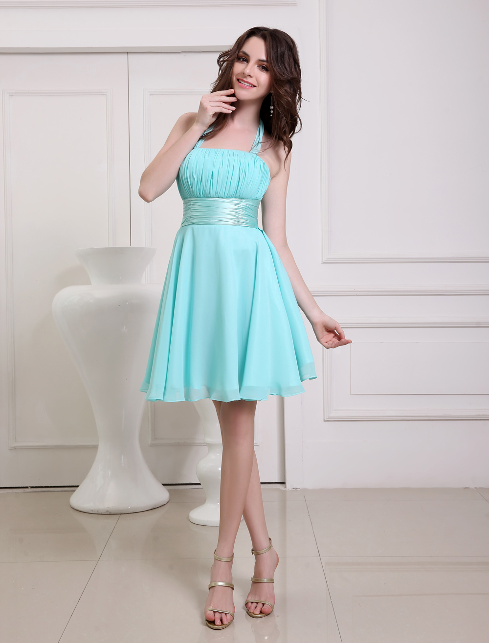 Ocean Blue Prom Dress Straps Sash Lace Up Bow Chiffon Dress