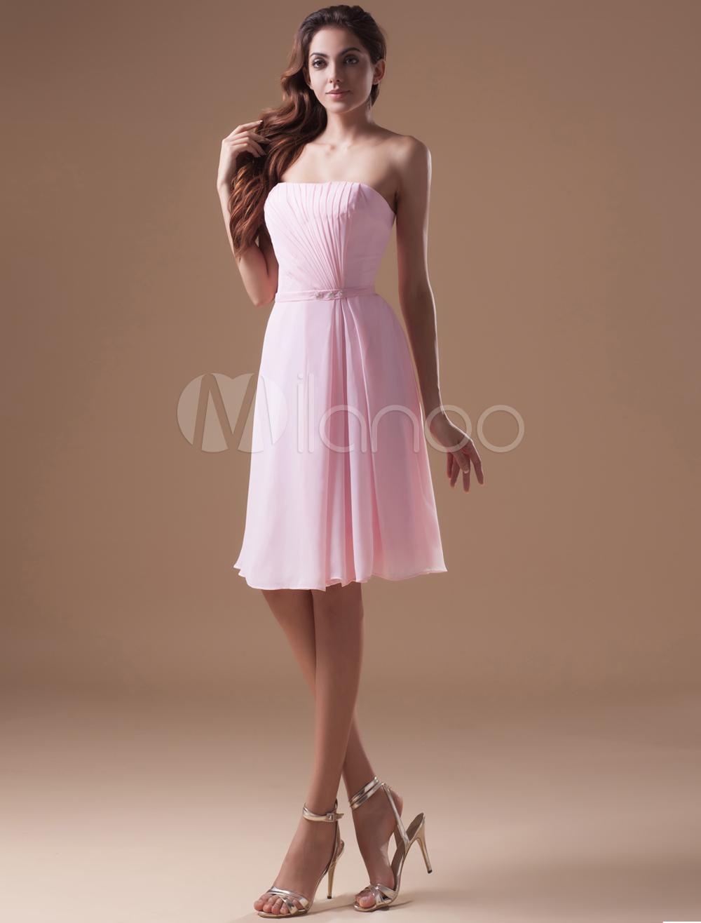 Pink Beading Strapless Chiffon Knee-Length Bridesmaid Dress