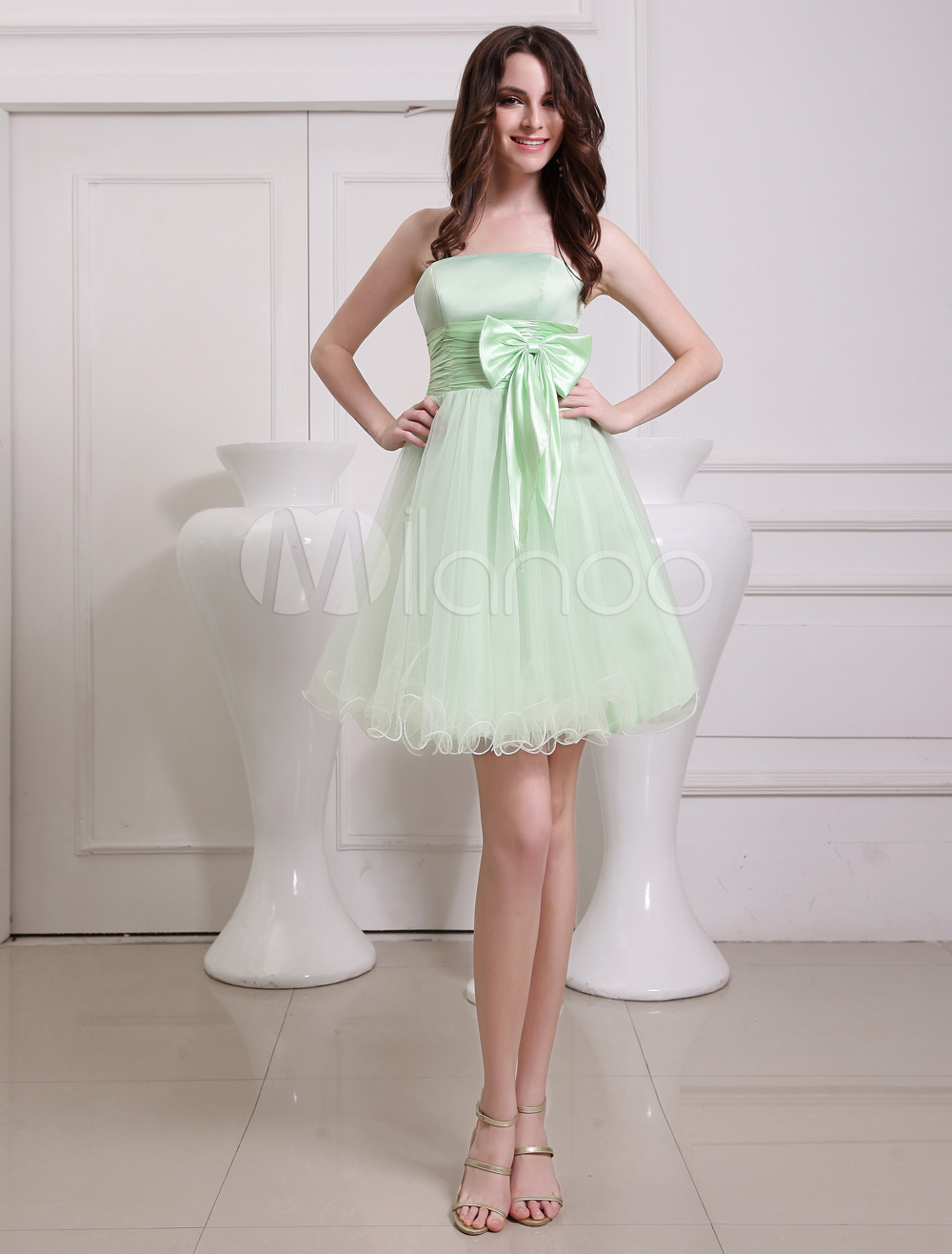 robe demoiselle d 39 honneur bustier en tulle vert avec ceinture. Black Bedroom Furniture Sets. Home Design Ideas