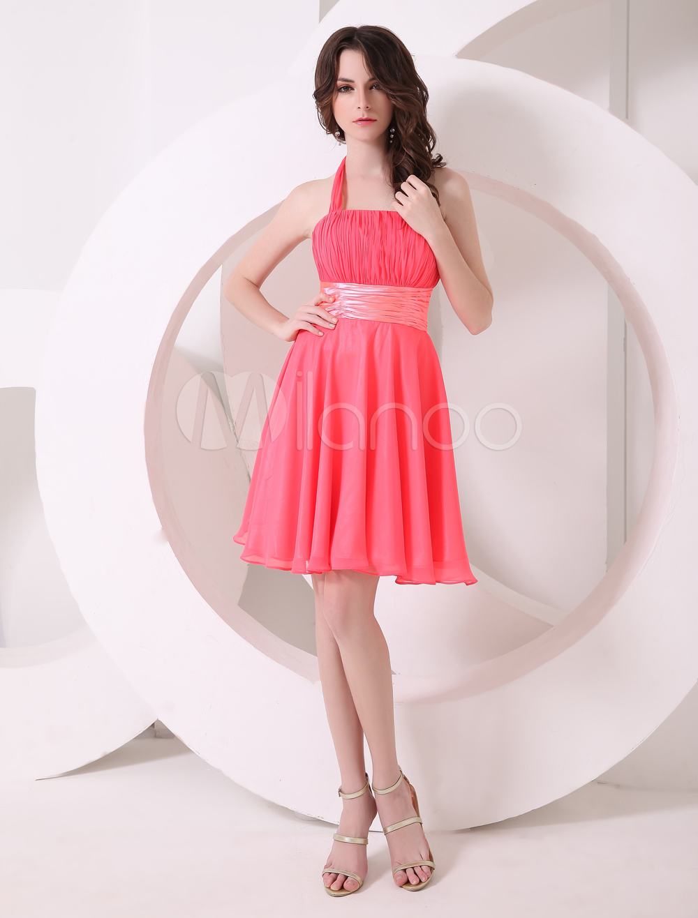 Pretty Watermelon A-line Halter Chiffon Short Bridesmaid Dress