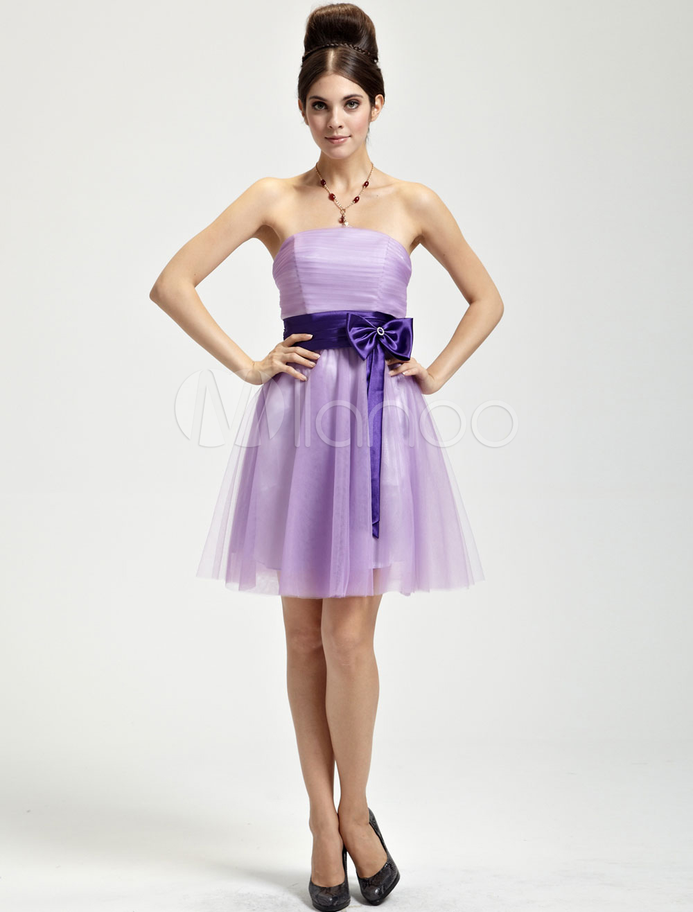 Romantic Lilac Tulle Strapless Knee Length Bridesmaid Dress