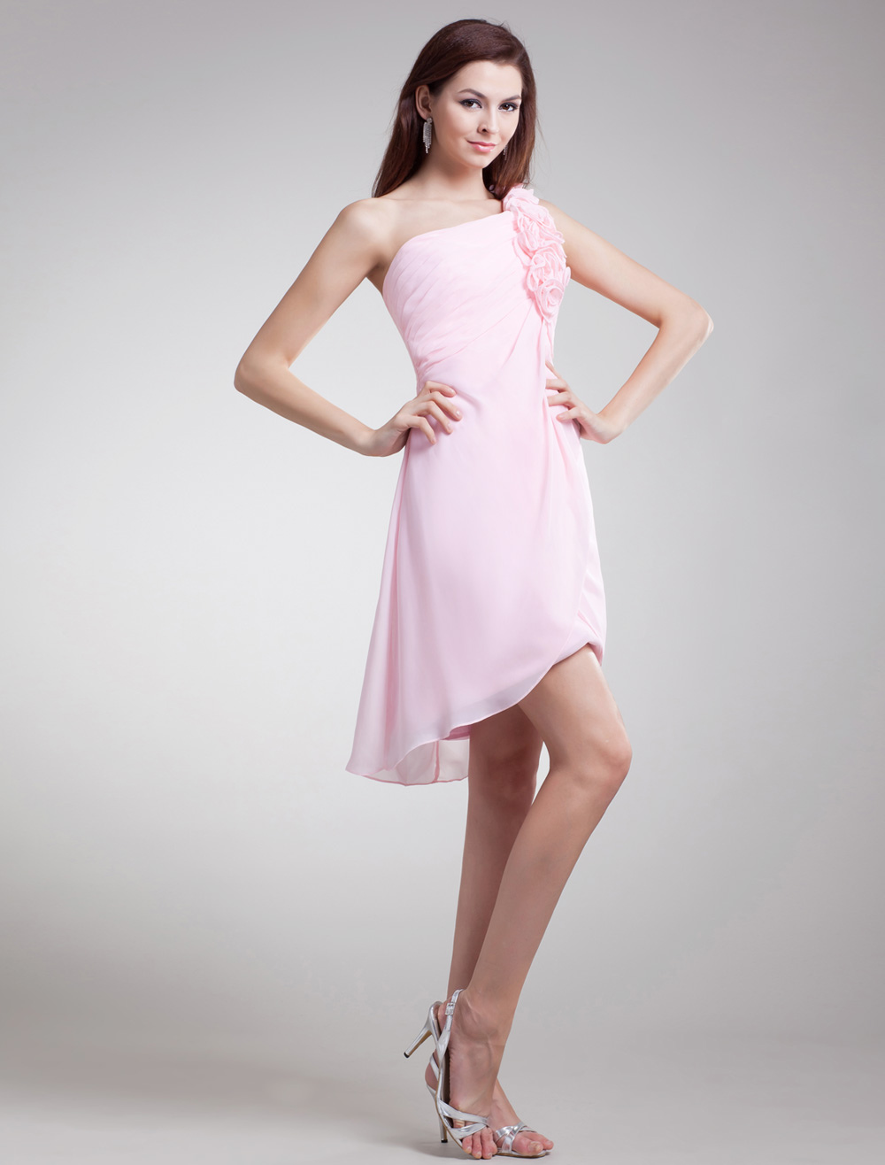 Sweet Pink Floral One-Shoulder Chiffon Short Fashion Bridesmaid Dress
