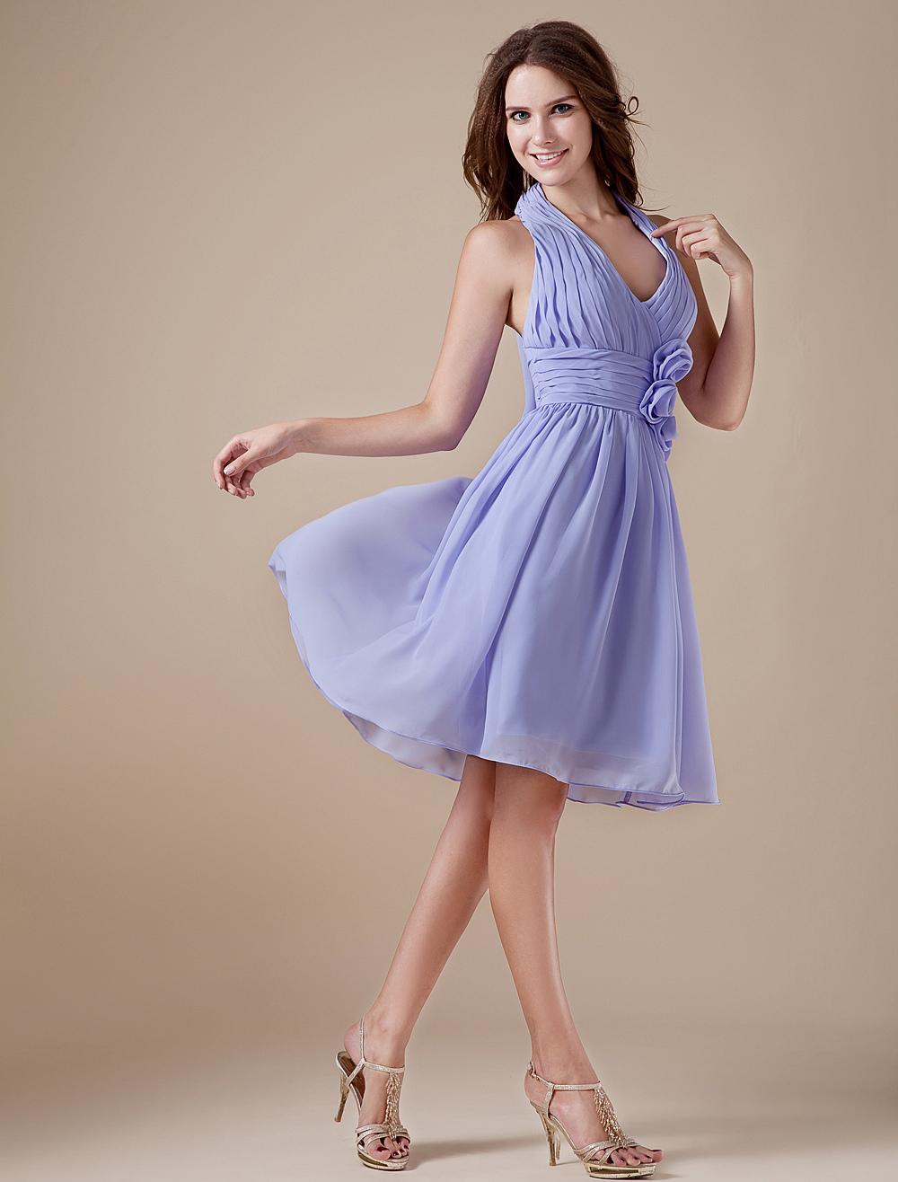 V-neck Chiffon Knee Length Womens Bridesmaid Dress