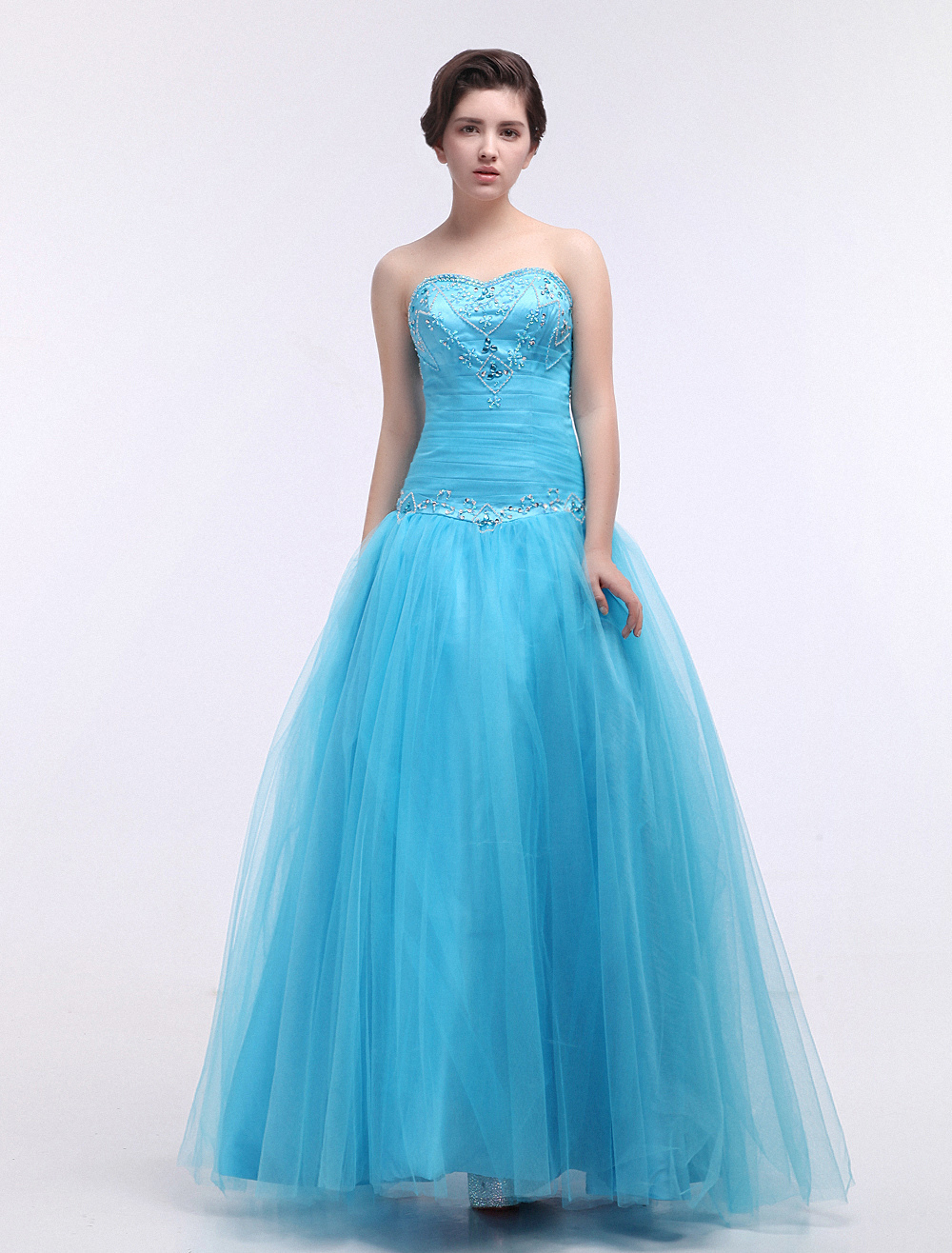 Tulle Quinceanera Dress Ball Gown Aqua Sweetheart