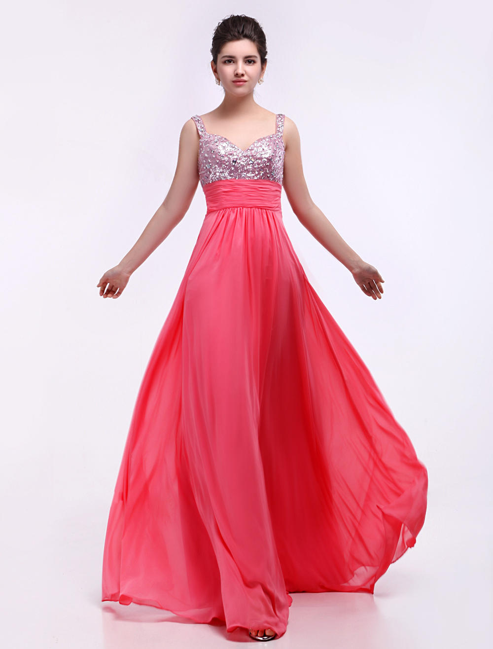 Candy Pink Sequnied Chiffon Prom Dress With Sweetheart Neck (Wedding Cheap Party Dress) photo