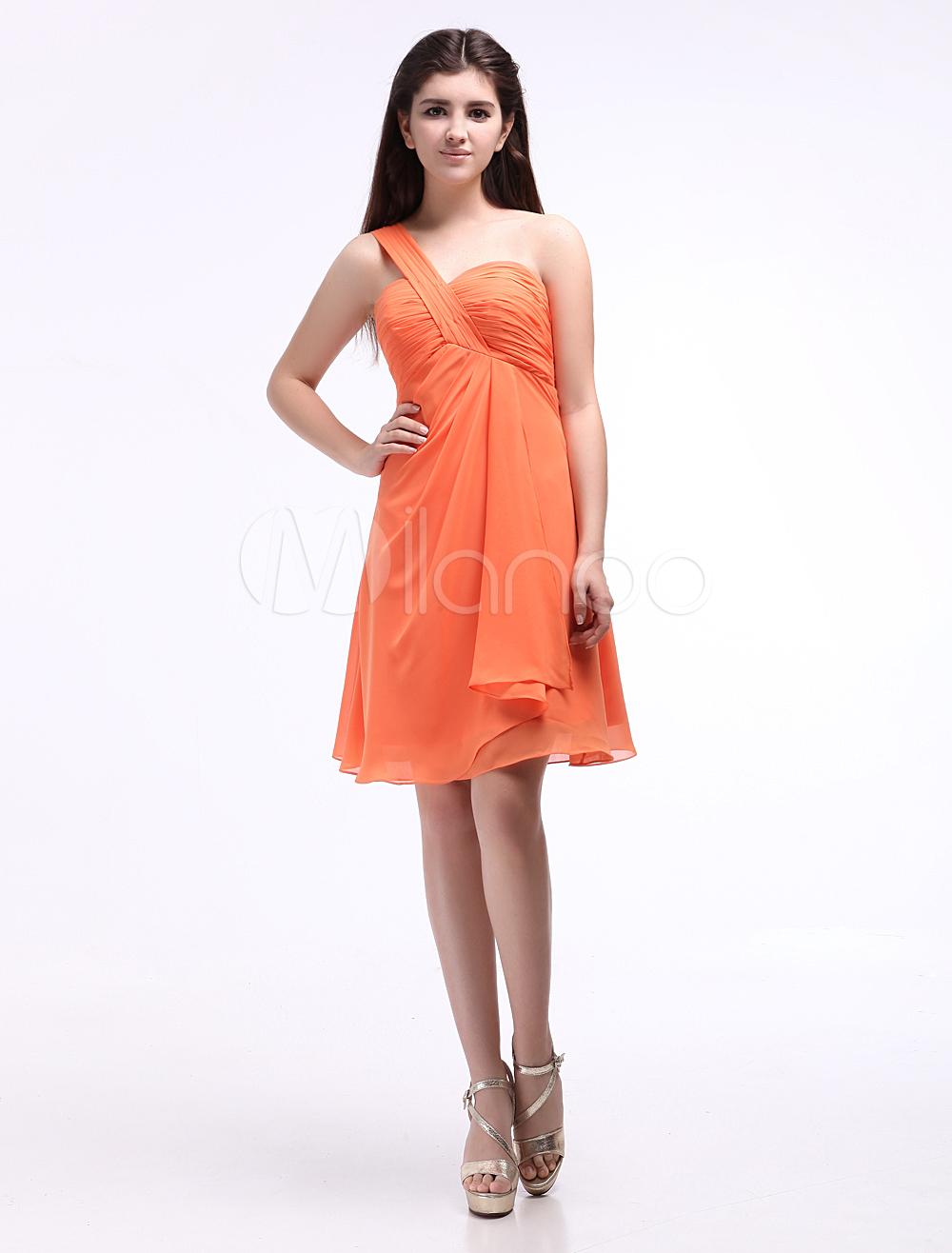One-Shoulder Chiffon Elastic Woven Satin Cocktail Dress