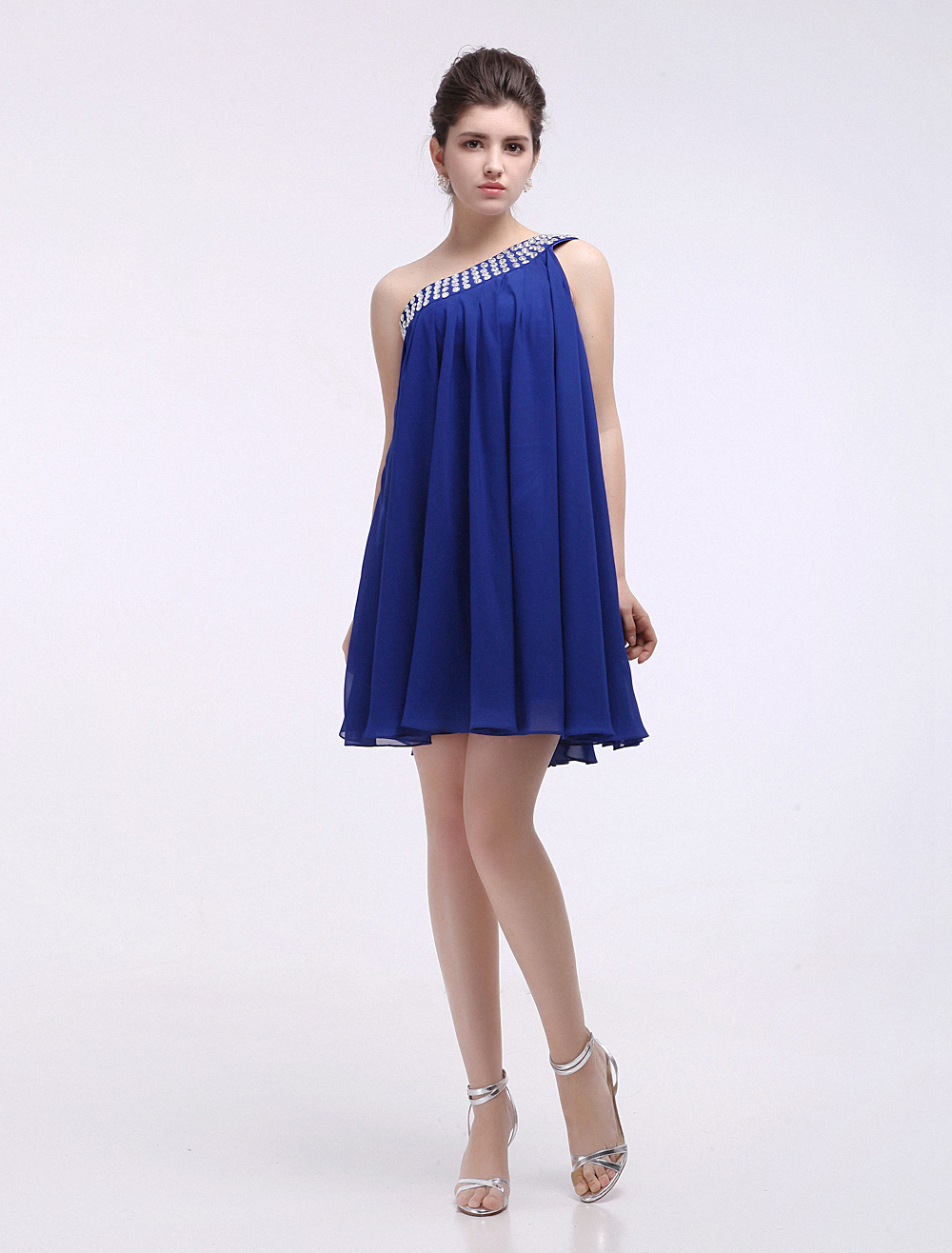Royal Blue One-Shoulder Beading Woman's Cocktail Dress (Wedding Cheap Party Dress) photo