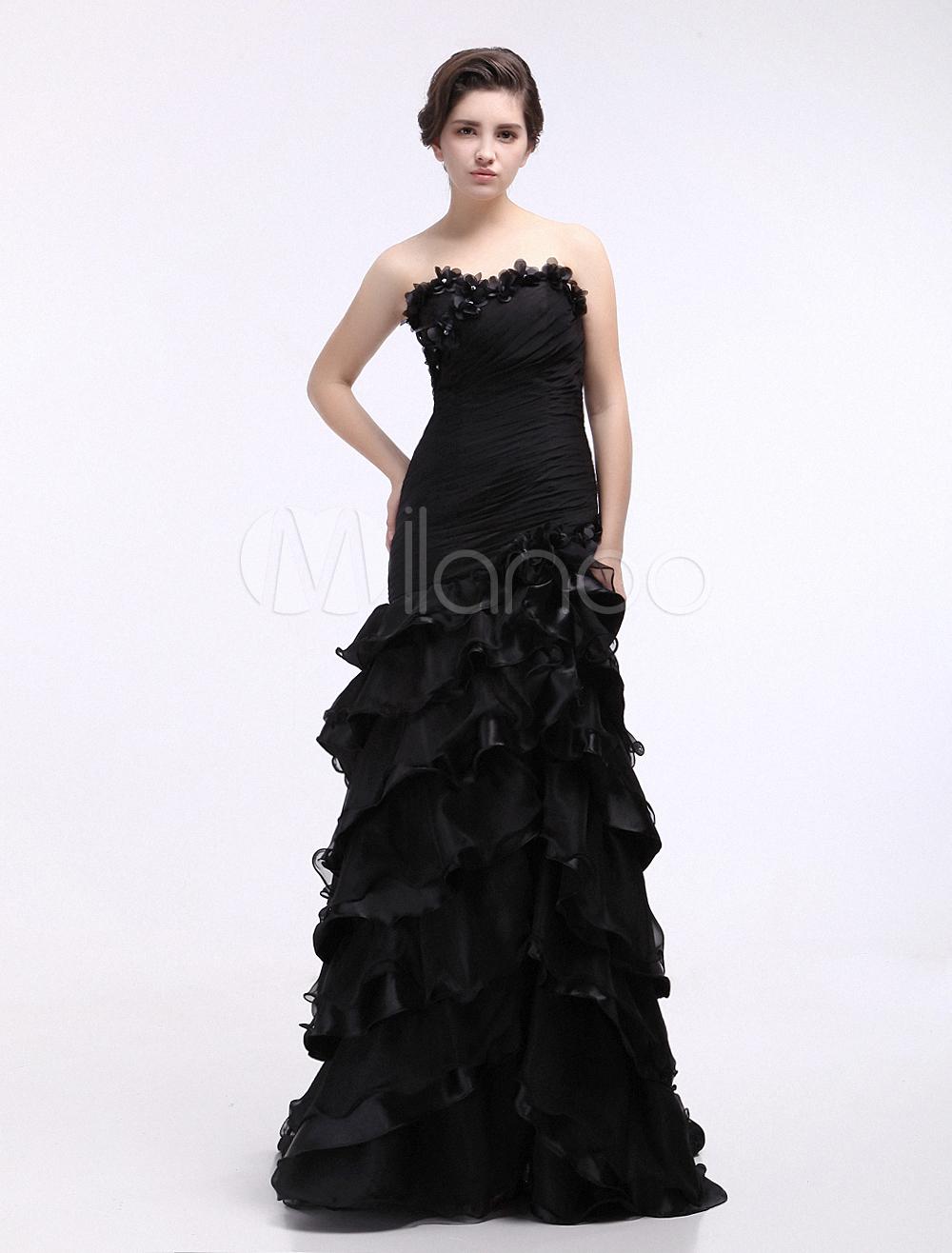 Black Wedding Dress Sweetheart Organza Ruffles Prom Dress (Prom Dresses) photo