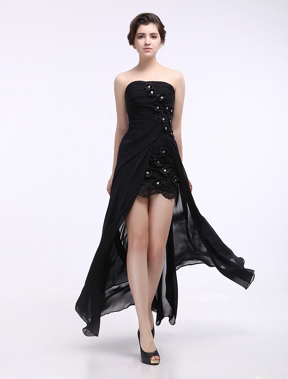 Sheath Black Floral Sweetheart Floor-Length Women's Prom Dress (Wedding Prom Dresses) photo