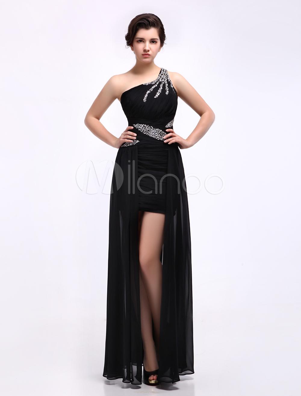 Sheath Black Ruched One-Shoulder Floor-Length Fashion Prom Dress (Wedding Prom Dresses) photo