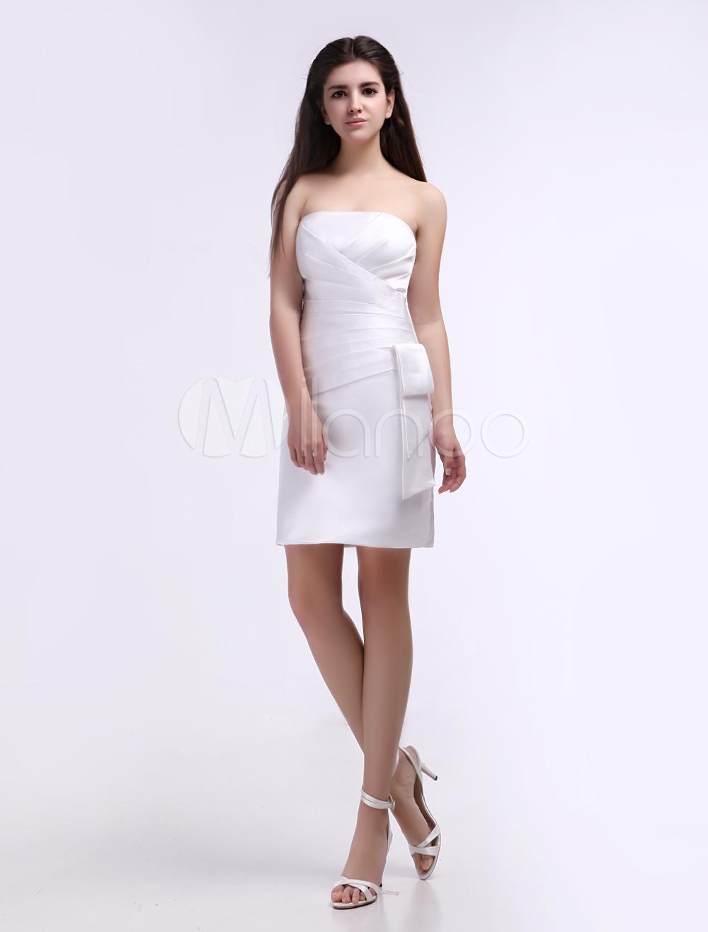 White Satin Strapless Knee Length Bridesmaid Dress