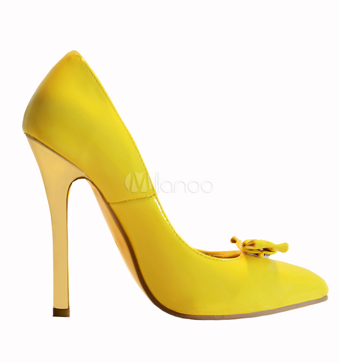 Fashion Yellow Pointed Toe Stiletto Heel Patent Leather Woman's ...