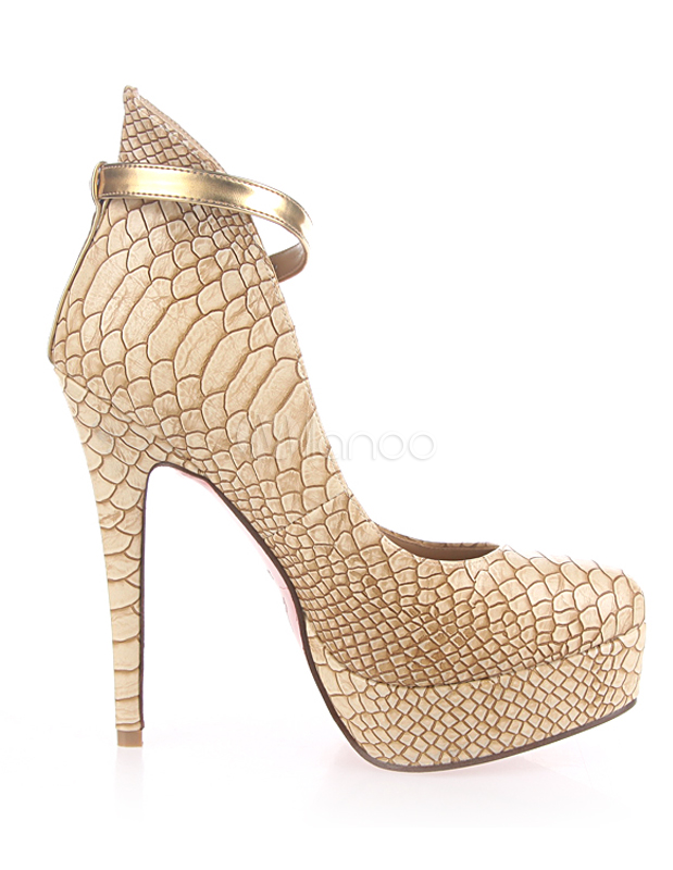 Gold Spike Heel Snake Print PU Leather High Heels - Milanoo.com
