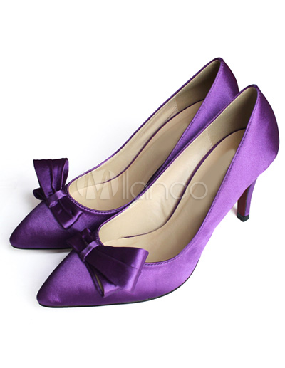 Gorgeous Purple Satin Bowknot 3 1/10\\'\\' High Heel Fashion Shoes For Women
