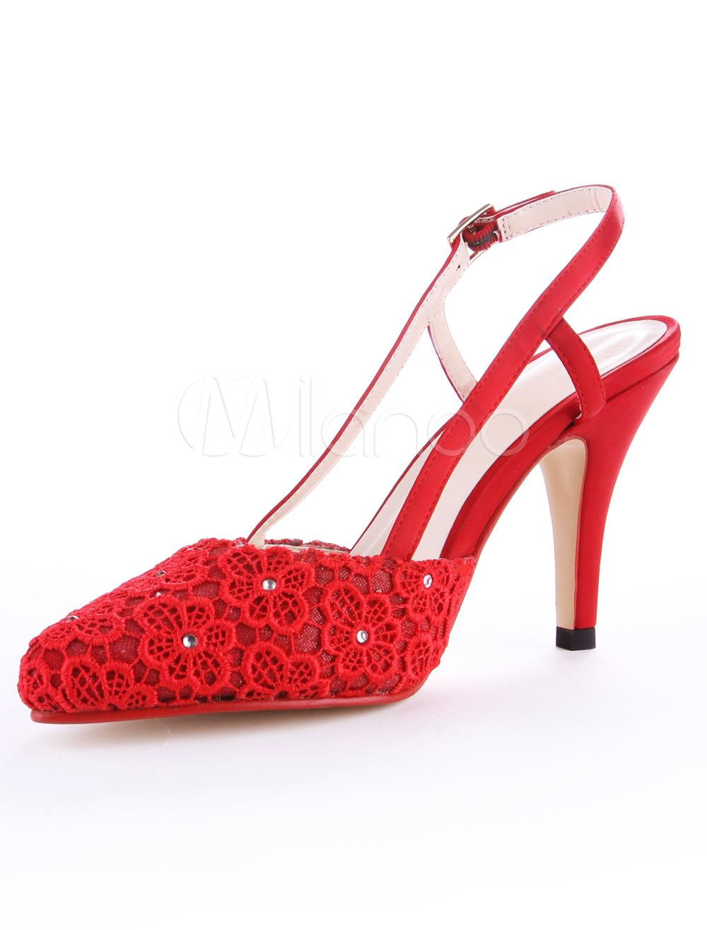 Red Pointed Toe Stiletto Heel Mesh Women's High Heels