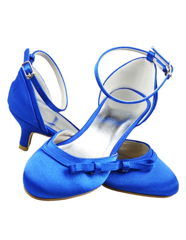 Blaue Brautschuhe mit Schleife und Fesselriemchen - Milanoo.com