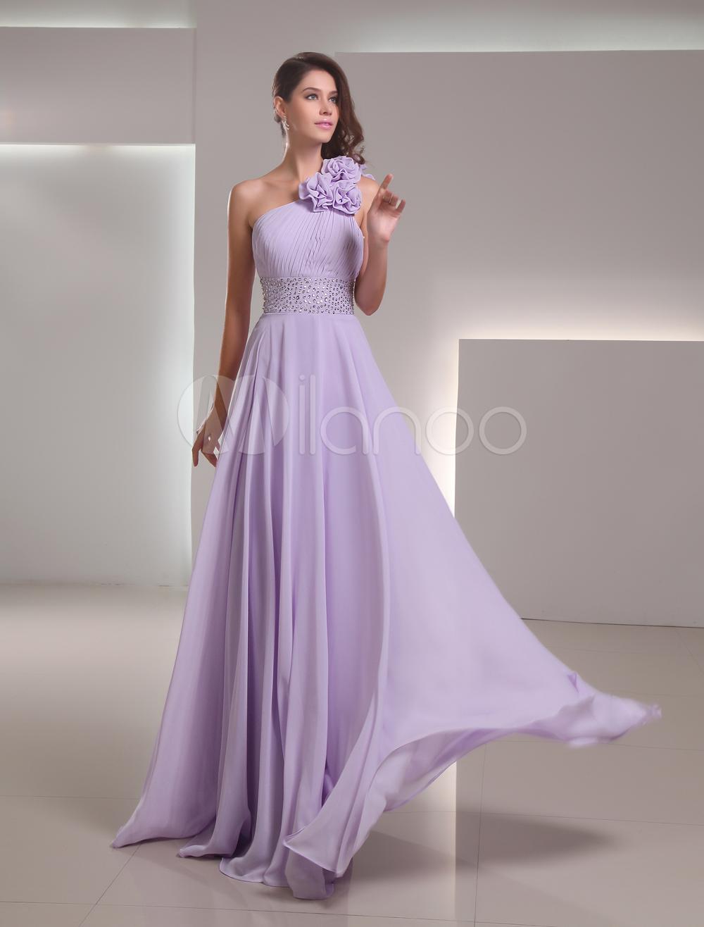 Lilac Chiffon Floor-Length Prom Dress With One-Shoulder - Milanoo.com