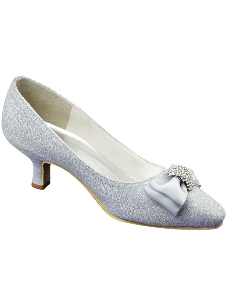 Grace Silver PU Leather Bow Low Heel Bridal Shoes