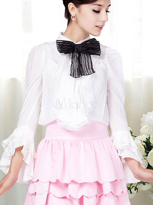 Beautiful Stand Collar Ruffles Cotton Woman's Blouse ...