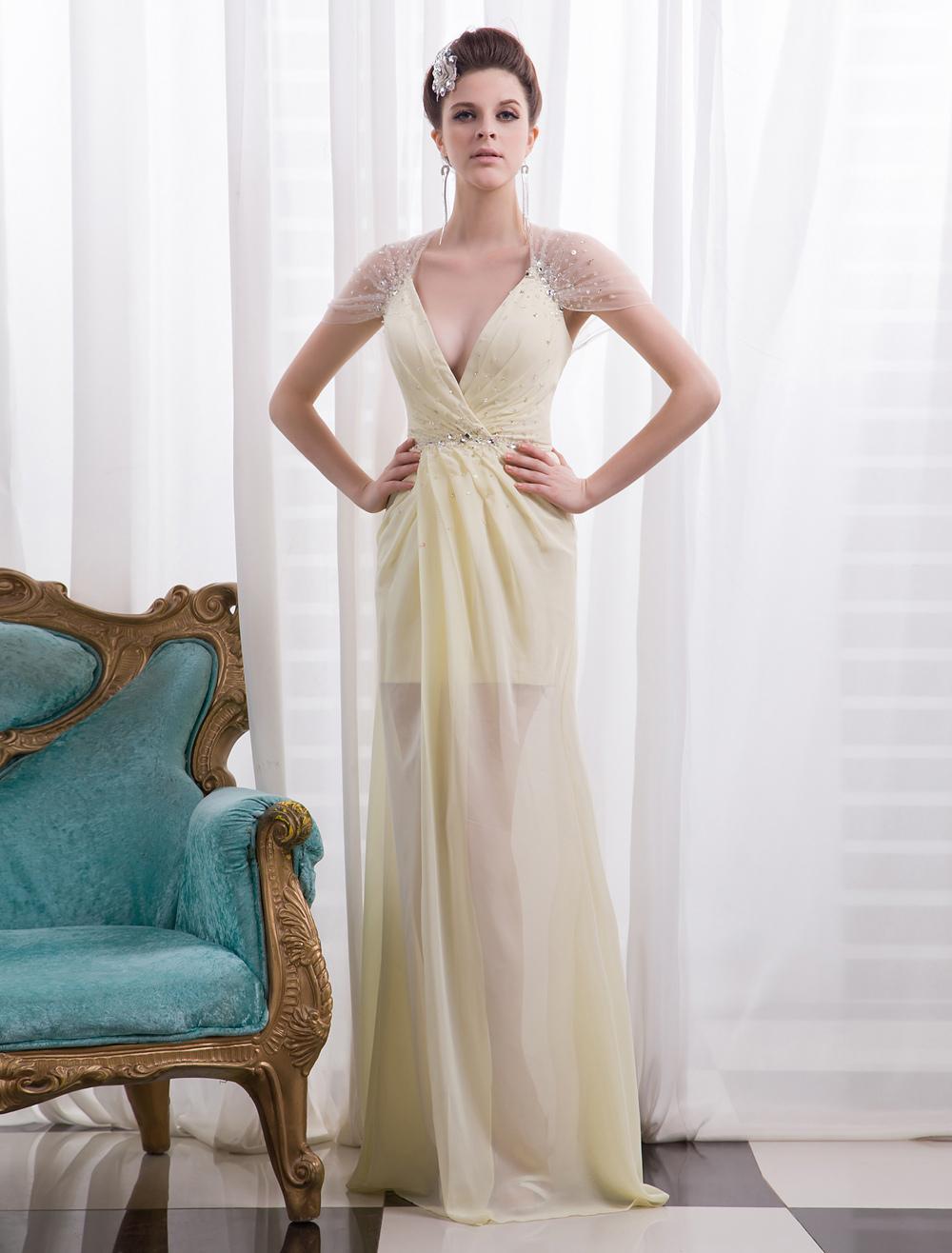 Daffodil Pleated Deep Sheath Chiffon Evening Dress with V-Neck Short Sleeves Milanoo (Wedding Evening Dresses) photo