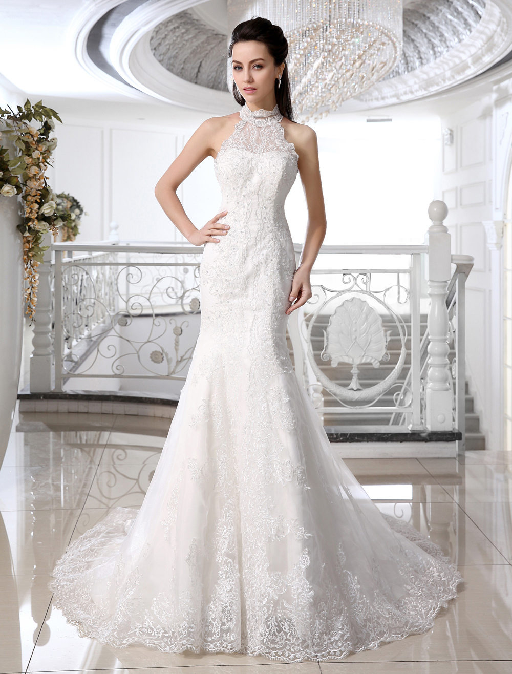 Mermaid Wedding Dresses Ivory Halter Bridal Gown Lace Applique Beaded Bridal Dress With Train photo