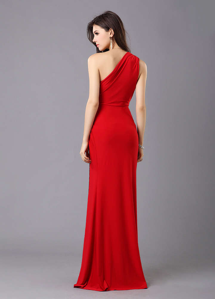One-Shoulder Red Satin Evening Dress with Floor-Length Design ...