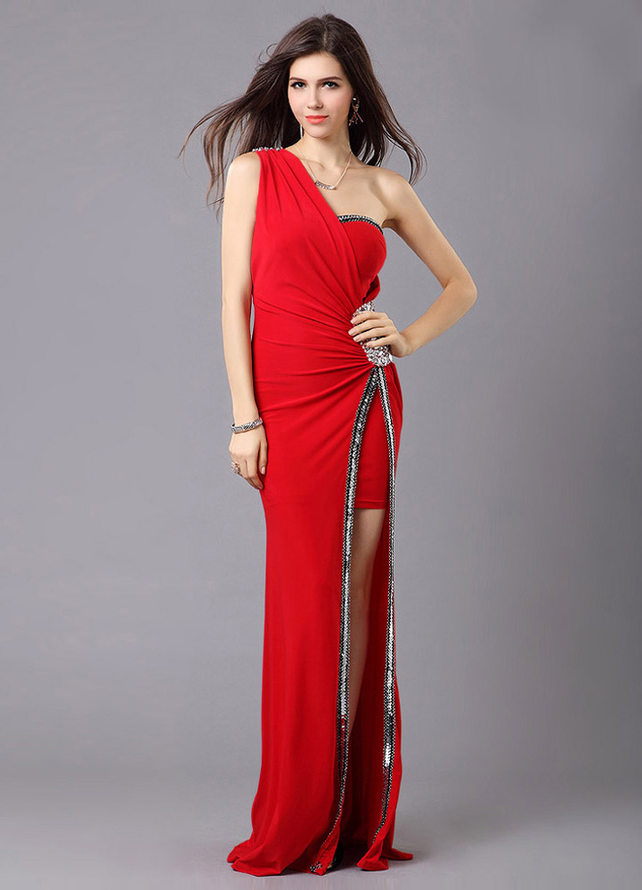 One-Shoulder Red Satin Evening Dress with Floor-Length Design Wedding Guest Dress (Cheap Party Dress) photo