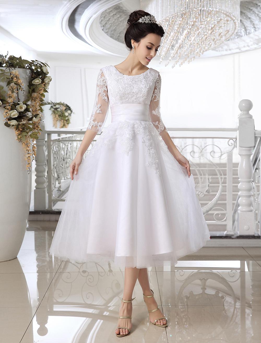 White Applique Net Bridal Wedding Dress