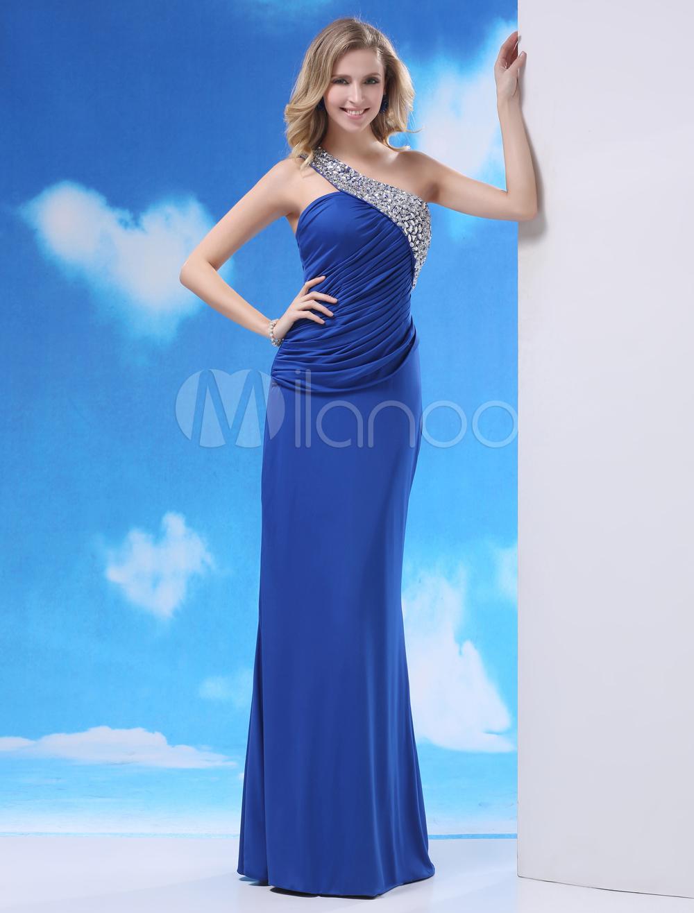 Royal Blue Beading One-Shoulder Elegant Sheath Grace Evening Dress Milanoo (Wedding Evening Dresses) photo