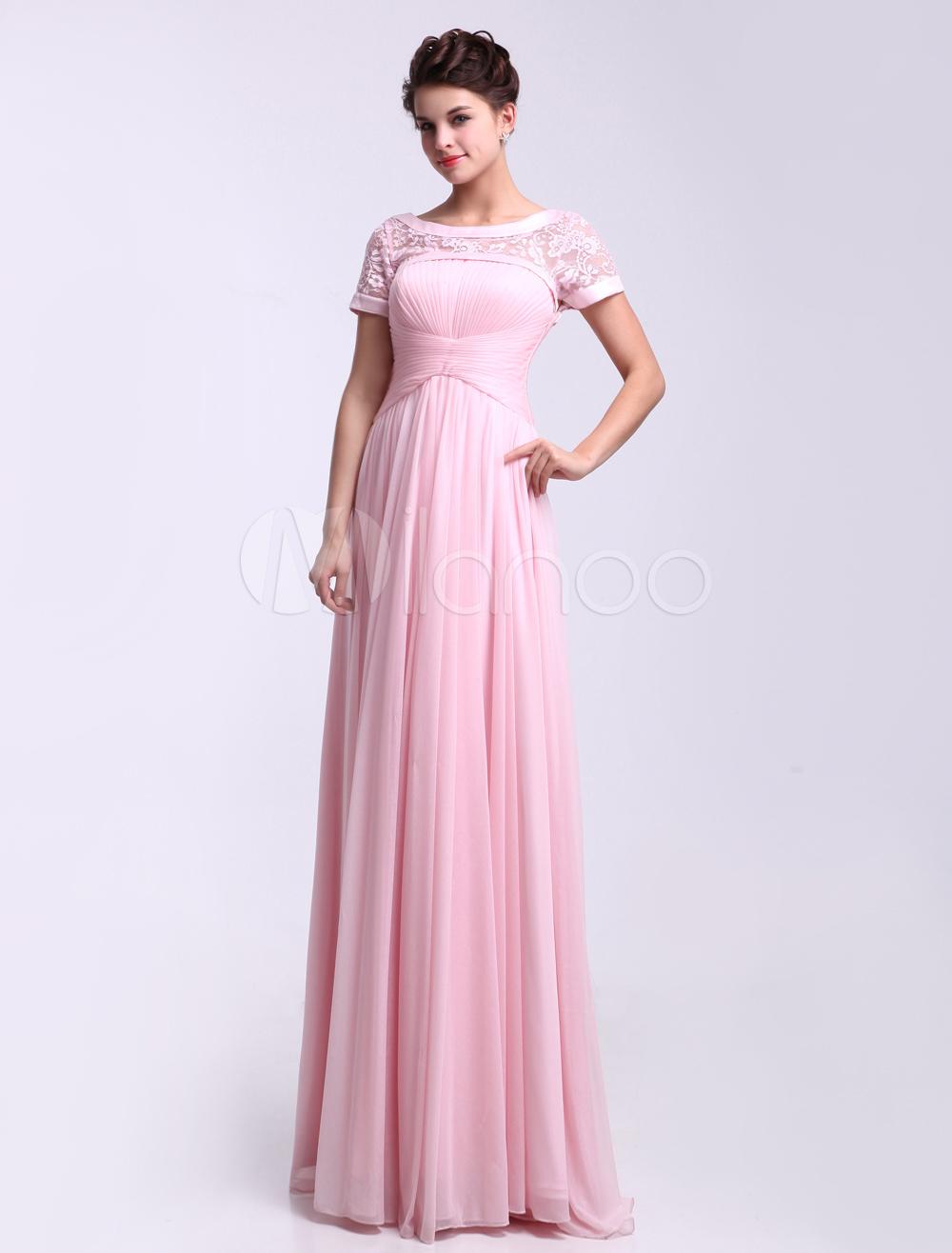 Scoop Neck Short Sleeves Ruched Shot-Silk Pink Elegant Bridesmaid Dress Milanoo (Wedding Bridesmaid Dresses) photo