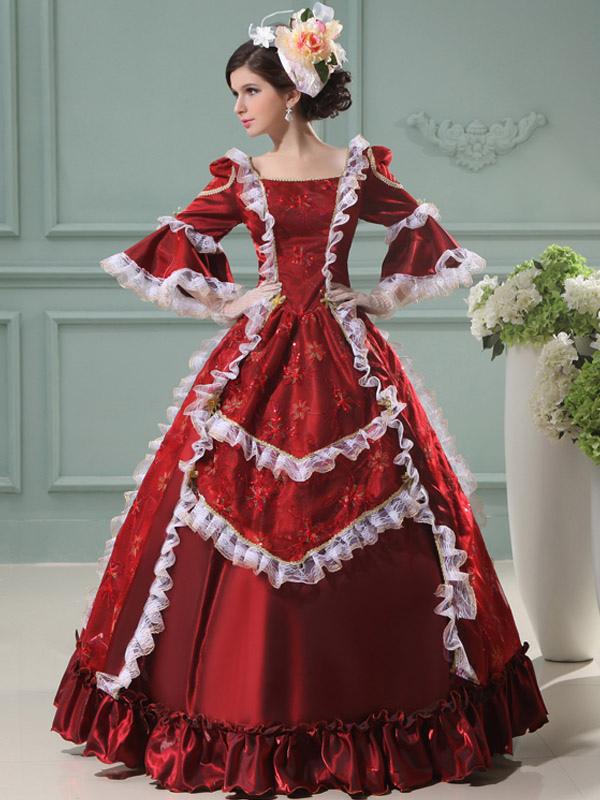 Women's Vintage Costume Rococo Ball Gowns Red Ruffle Half Sleeve Royal Princess Retro Costume Dress Halloween (Costumes) photo