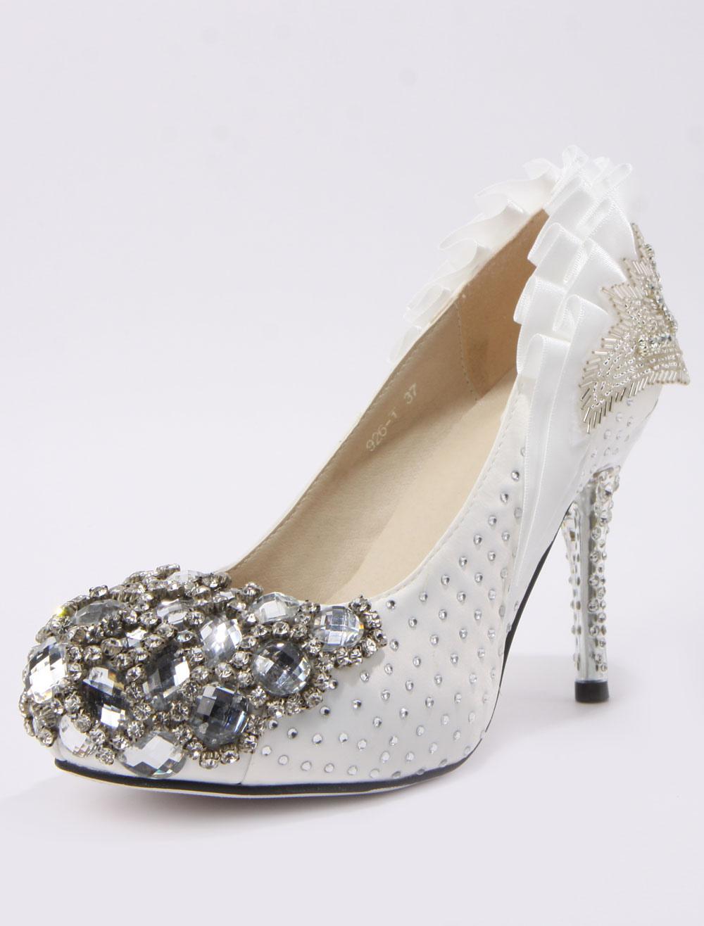 filename retro ruffles beading spike heel silk and satin cute bridal shoes 300722 14jpg