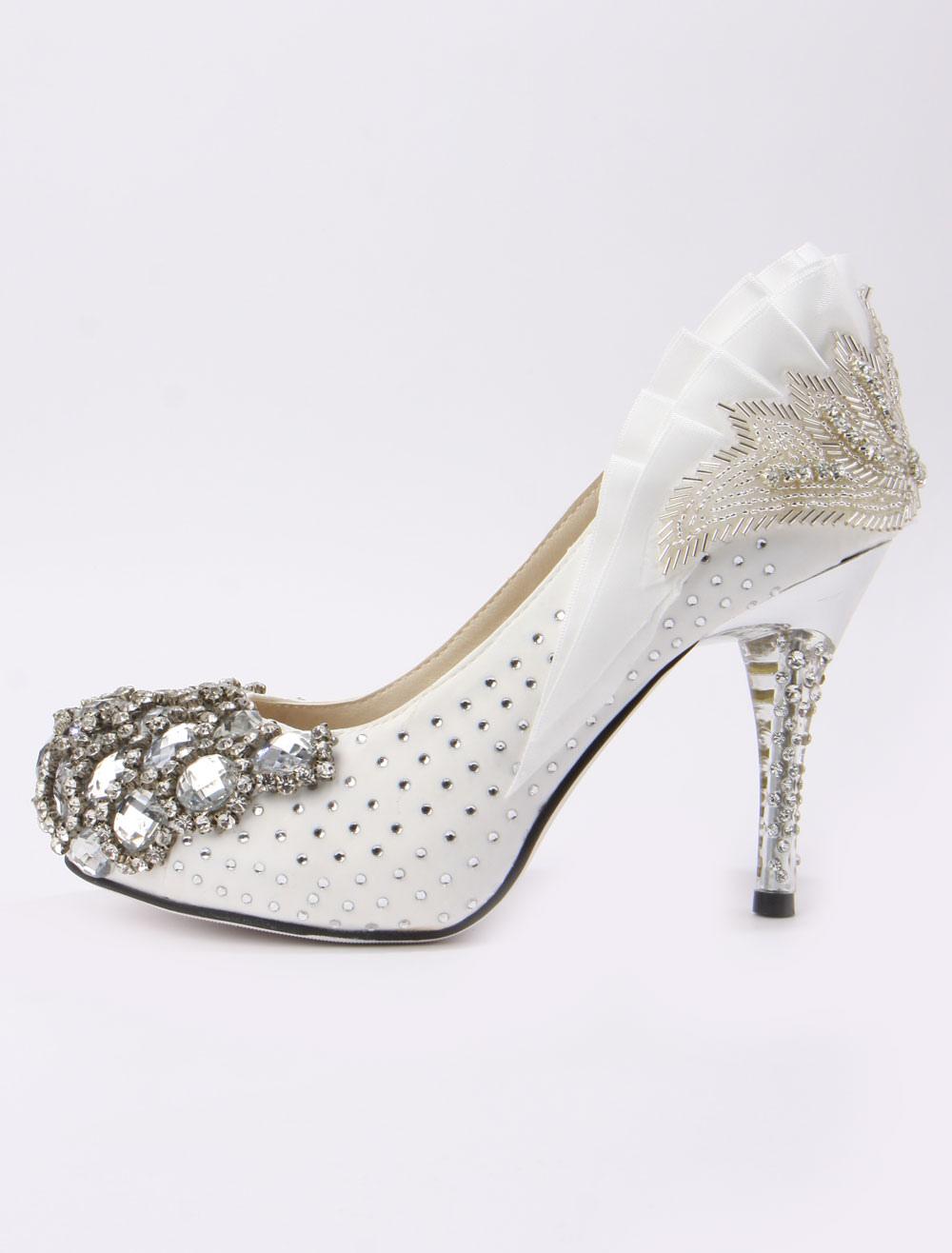 retro ruffles beading spike heel silk and satin cute bridal shoes no3